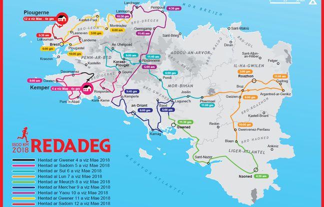 La Redadeg 2018 passera par les cinq départements de la Bretagne historique.