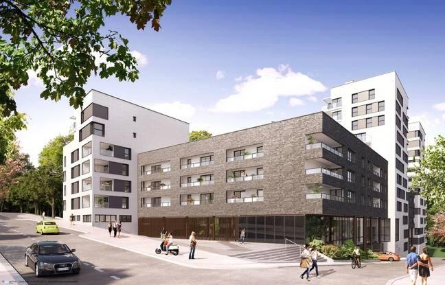 La vue d'architecte du futur projet immobilier du groupe Giboire à Rennes, sur le terrain des Cadets de Bretagne. Ici depuis la rue d'Antrain