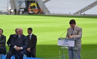 Patrick Kanner, le ministre de la Ville, la Jeunesse et les Sports, jeudi 16 octobre au stade Vélodrome.