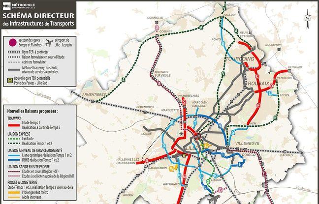 La carte des nouvelles lignes de transport de la métropole Lilloise.