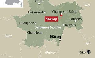 Carte de situation de Sevrey (Saône-et-Loire), où le meurtrier présumé de l'une des «disparues de l'A6» s'est évadé d'un hôpital psychiatrique, le 16 septembre 2014.