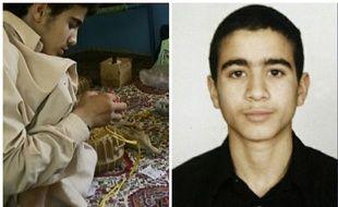 L'image à gauche dévoilée par le Pentagone le 31 octobre 2010 montre Omar Khadr construisant un appareil explosif. A 15 ans, il était devenu le plus jeune détenu de Guantanamo.