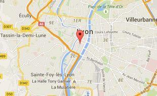 Carte de localisation du deuxième arrondissement de Lyon.