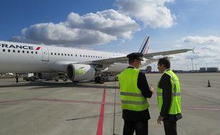Mardi, sur le tarmac toulousain, lors du lancement de la Lab Line d'Air France.