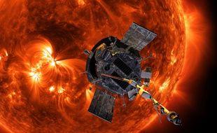 Vue d'artiste de la sonde Parker Solar Probe à l'approche du Soleil.