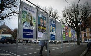 Panneaux électoraux le 1er décembre 2015 à Delle