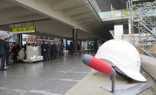 Mercredi 28 juin 2017, lors de la pose de la première pierre du chantier d'extention de l'aéroport de Toulouse-Blagnac.