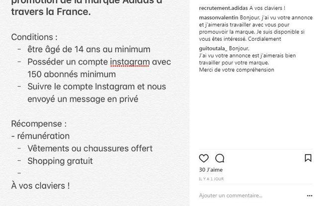 Fausse annonce de recrutement sur Instagram (2)