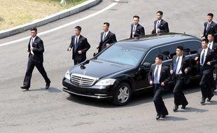 La voiture de Kim Jong-un lors du sommet intercoréen pour la paix le 27 avril 2018.