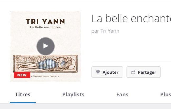 Capture d'écran du site Deezer avec la version modifiée de la pochette de «La belle enchantée» de Tri Yann.