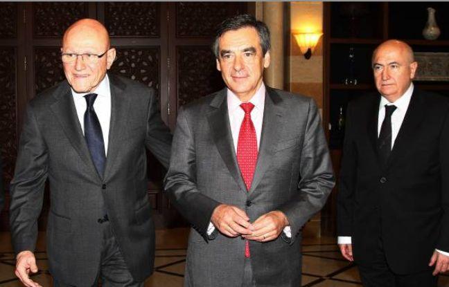 François Fillon au Liban le 20 décembre 2014, en compagnie notamment du président du Conseil des ministres Tammam Salam (à gauche).