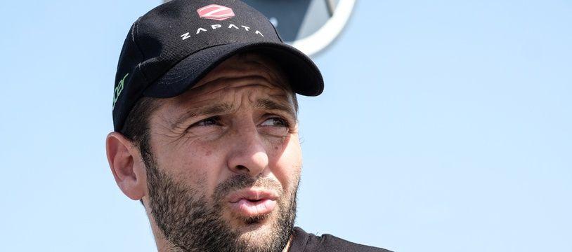 Franky Zapata après sa première tentative ratée de traversée de la Manche en Flyboard, le 25 juillet 2019 à Boulogne-Sur-Mer.