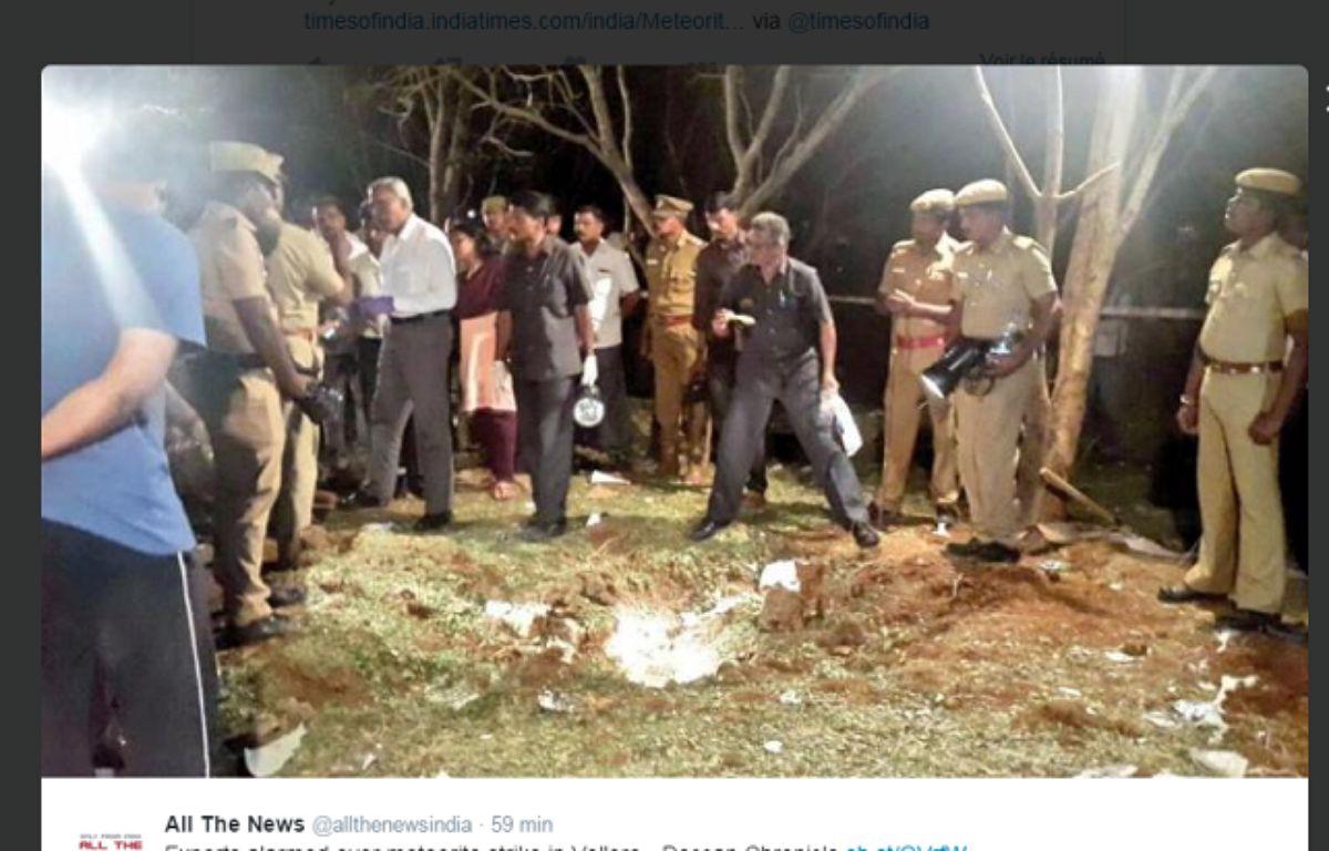 Capture d'écran d'un tweet montrant le cratère formé par l'explosion dans la région de Vellore en Inde. – DR