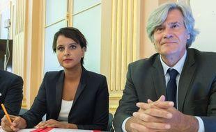Najat Vallaud-Belkacem et Stéphane Le Foll, alors ministres, le 24 septembre 2016 lors d'une conférence de presse à Paris