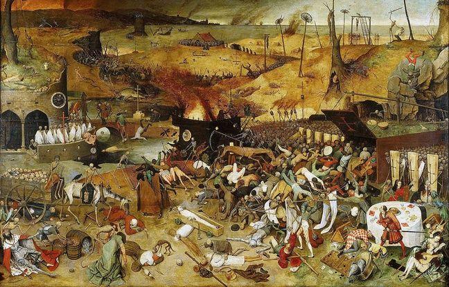 «Le Triomphe de la Mort» (1562) de Pieter Brueghel l'Ancien conservée au musée du Prado à Madrid (Espagne).