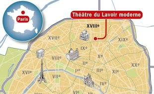 Localisation du théâtre le Lavoir moderne, dans le 18e arrondissement à Paris