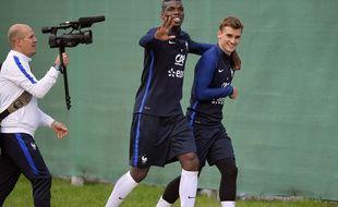 Paul Pogba et Antoine Griezmann lors d'un entraînement de l'équipe de France juste avant l'Euro, le 1er juin 2016.