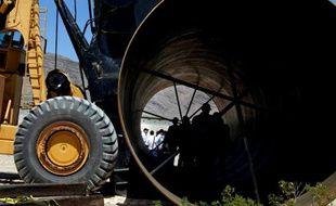 """Photo prise le 11 mai 2016 à Las Vegas (Etats-Unis) lors du premier test public d'un système de propulsion censé faire fonctionner un projet futuriste de train à très grande vitesse, """"Hyperloop"""""""