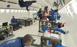 Hier,à bord d'un vol parabolique, lancé depuis Mérignac par Novespace.