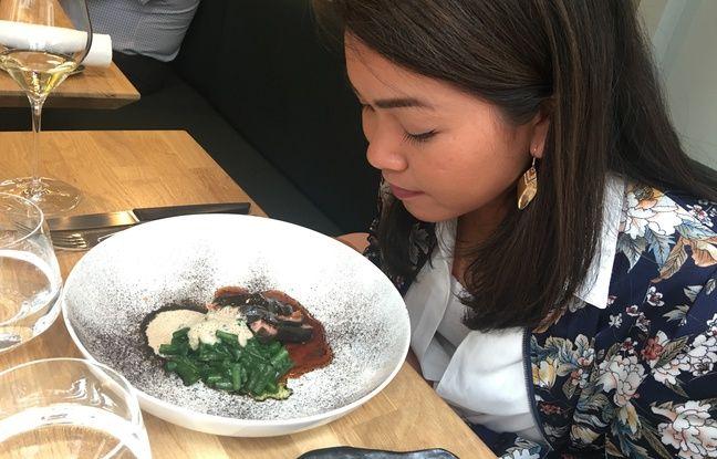 Le veau mariné avec algues kombu, haricot-salicornes-persil de La Condesa