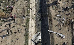 Le site du crash du Boeing ukrainien, le 8 janvier 2020.