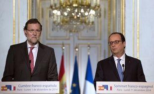 François Hollande et Mariano Rajoy le 1er décembre 2014 à l'Elysée.