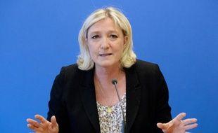 La présidente du Front National, Marine Le Pen, le 25 mars 2014 à Nanterre près de Paris