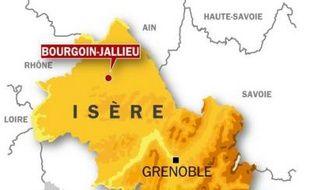 Localisation de Bourgoin-Jallieu, en Isère.