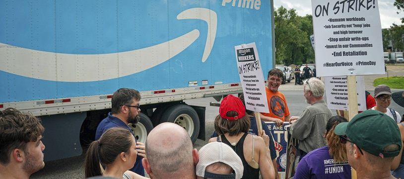 Bloquage de salariés d'Amazon dans le Minnesota, le 15 juillet 2019.