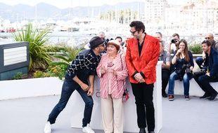 JR, Agnès Varda et M à Cannes le 19 mai 2017.