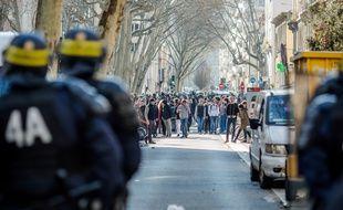 A Lyon, le cortège était encadré par de nombreuses forces de sécurité comme lors de la manifestation du 17 mars. KONRAD K/SIPA