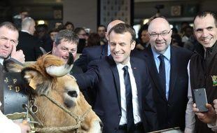 Emmanuel Macron à son premier Salon de l'agriculture en tant que président de la République, le 24 février 2018.