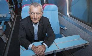 Présentation du nouveau train TGV Oui Go Low Cost de la SNCF avec Guillaume Pepy président de la SNCF, le 19 février 2013 à Paris