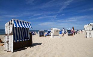 Fauteuils de plage sur l'île de Sylt dans le Schleswig-Holstein, en Allemagne.