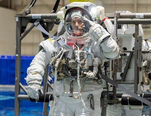 Thomas Pesquet à l'entrainement, le 19 juin 2020, au Neutral Buoyancy Laboratory (NBL) à Houston (Texas).