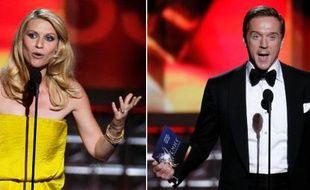 Claire Danes et Damien Lewis, récompensés aux Emmy Awards, le 23 septembre 2012, pour leur rôle dans la série «Homeland».