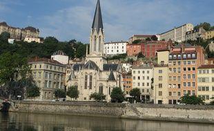 Lyon, le 5 mai 2015. Des vues du Vieux-Lyon. Ici le quartier Saint-Georges.