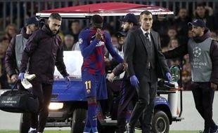 Ousmane Dembélé s'est encore blessé avec le Barça, face à Dortmund, le 26 novembre 2019.