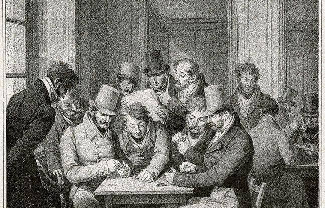 Des hommes dans un café parisien au 19e siècle