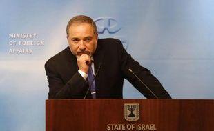 Le ministre israélien des Affaires étrangères Avigdor Lieberman le 22 avril 2014 à Jérusalem