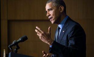 Le président Barack Obama lors d'une conférence de presse à l'OCDE, le 1er décembre 2015 à Paris