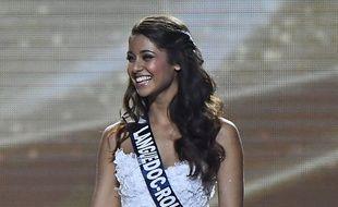 Aurore Kichenin, Miss Languedoc-Roussillon, à l'annonce du résultat final, samedi.