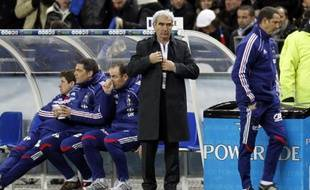 Raymond Domenech sous le feu des critiques après la défaite face à l'Espagne, au Stade de France, le 03 mars 2010