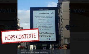 Ce panneau a été affiché pour le tournage d'un film à Limoges.