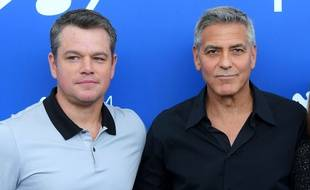 Matt Damon et George Clooney à la Mostra de Venise,  le 2 septembre 2017.
