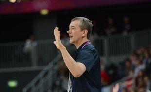 Pierre Vincent, le sélectionneur de l'équipe de France de basket, le 7 août 2012, aux JO de Londres.