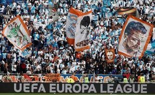 Les supporters marseillais se trouvaient au virage sud du Parc OL, mercredi lors de la finale de Ligue Europa contre l'Atlético de Madrid. SMARISCAL
