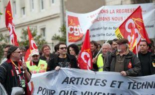 Des intermittents du spectacle manifestent contre le projet de réforme de la convention d'assurance chômage le 25 avril 2014 à Bourges