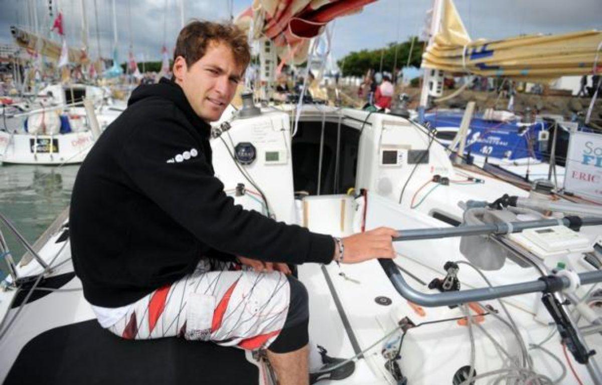 Morgan Lagravière, 25 ans, a été sacré samedi champion de France 2012 de course au large en solitaire après sa victoire dans la dernière épreuve de la saison, l'Eiffage TP Med Race à Marseille. – Fred Tanneau afp.com