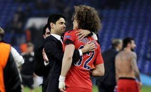 Nasser al-Khelaïfi fête la qualification du PSG contre Chelsea le 11 mars 2015.